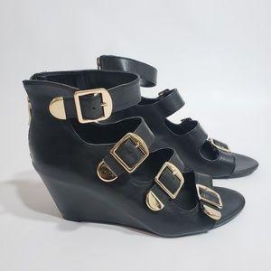 BCBGeneration Cayden Buckle Wedge Sandals Heels